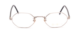 Octagonal metal frame in silver gray with black acetate temples