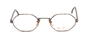 Octagonal metal frame in antique silver with gold-black patterned glass rim and black acetate temples