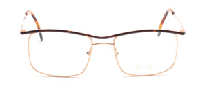 Metal glasses for men in gold with brown patterned upper edge and outside of the temple