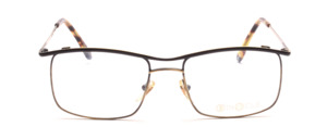 Men's frame in antique gold with black upper edge and outside of the temple