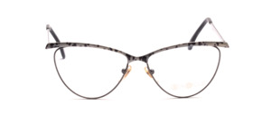 Cat-eye frame made of metal in silver gray with a gray-black patterned top bar and outside of the bar