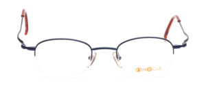 Metal half-rim glasses in blue with slightly raised temples