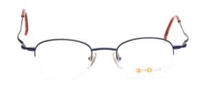 Halbrandbrille aus Metall in Blau mit leicht ausgestellten Bügeln