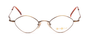 Diamond-shaped metal frame in antique gold with slightly raised temples