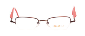 Half-rim goggles in dark claret with red acetate straps