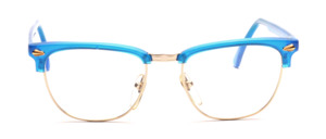 High-quality combination Frame with a golden metal frame and blue acetate parts and straps