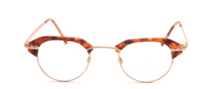 Extravagante, etwas kleinere Brillenfassung mit braun gemusterten Acetat Tops