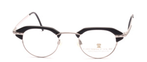 Extravagant, slightly smaller matt silver frame with black acetate tops