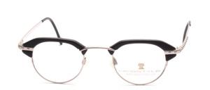 Extravagante, etwas kleinere matt silberne Brillenfassung mit schwarzen Acetat Tops