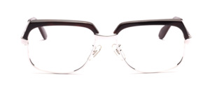 High-quality, classic vintage glasses by Selecta from the 1970s in silver with a dark brown top rim