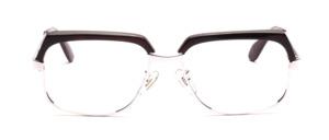 Hochwertige, klassische Vintage Brille von Selecta aus den 1970er Jahren in Silber mit Dunkelbraunem Oberrand