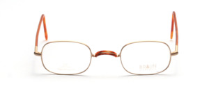 Matt golden metal frame with flex hinge with W-bar with brown W-bar base and brown-coated temples