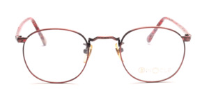 Mens eyeglasses frame in metallic red metal with ornate decorations by Binocle