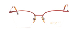 Half rimless eyeglasses in metallic red in indicated butterfly shape