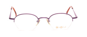Half rim eyeglasses made of metal in a strong Lilac color