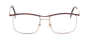 Metal frame for men in matt silver with red-black patterned upper edge and outside of the temple