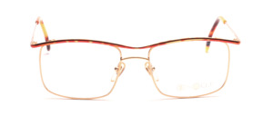 Metal frame for men in gold with a red gold patterned upper edge and outside of the temple