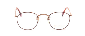 Matt golden metal frame with brown glass rim and engraving on the front and on the temples
