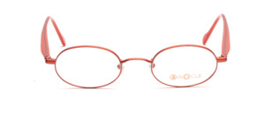 Small oval metal frame in dark orange with acetate acetate in red caramel