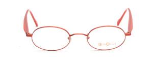 Kleine ovale Metallfassung in dunklem Orange mit Bügeln aus Acetat in Rot-Karamell