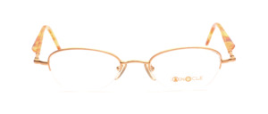 Semi-rimglass for ladies in matt gold with light brown acetate straps