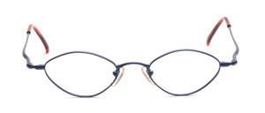 Diamond-shaped metal frame in blue with slightly flared arms with flexible hinge