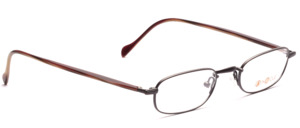 Metal frame in chocolate brown with acetate temples in brown-blue