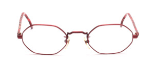 Octagonal red metal frame with red patterned acetate hangers