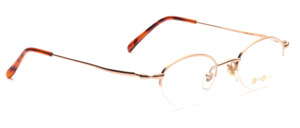 Semi-rim glasses for women in matt gold with slightly flared temples