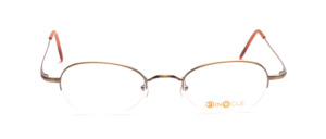 Elegant semi-rim goggles for ladies in antique gold with slightly flared temples