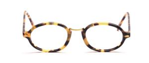 Ovale Acetatfassung in Braun gefleckt mit goldenem Nasensteg aus Metall