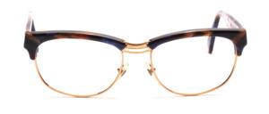 Kombifassung für Herren in Gold Metall mit Braun-Blau gemustertem Acetat Oberrand und Bügeln