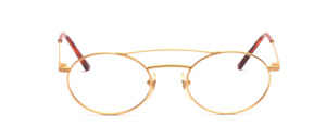 Oval metal frame in matt gold with double bridge and chiselling on the above-attached temples