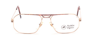 Smaller men's frame in gold with brown patterned decoration in front