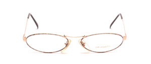 Small oval women's glasses in gold with a colorful patterned glass rim