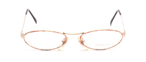Small oval women's glasses in gold with red-gold patterned glass rim