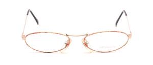 Kleine ovale Damenbrille in Gold mit Rot-Gold gemustertem Glasrand
