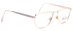 Golden metal frame with white-purple decorated straps