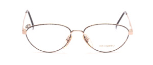 Feminine metal glasses with colorful patterned glass rim