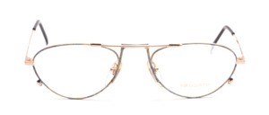 Playful men's frame in gold with blue-gold patterned glass rim and straps