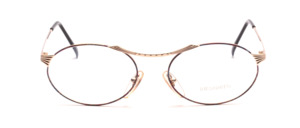 Beautifully curved ladies' Frame in gold with discreetly colorful patterned decoration on the front and on the temples