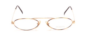 Fancy oval metal glasses in gold with brown glass rim