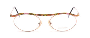 High-quality metal sunglasses in gold with a colorful patterned upper beam and ironing
