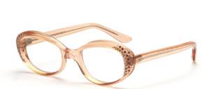 Solide Damen Acetat Brillenfassung aus den 1960er Jahren in Transparent Apricot mit Stressdekor in Weiß und Pink
