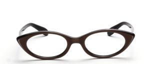60er Jahre Damenbrille in Schwarz mit einer dunkelbraunen Oberfläche