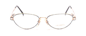Exceptional Cat Eye frame in gold with blue trim on the front and on the temples
