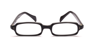 Flat vintage 1960s frame in black acetate, with 2 decorative rivets on the front at the side