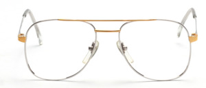 Elegantly simple pilot Frame in bicolour with double bridge on Desil in 14 KT Rolled Gold