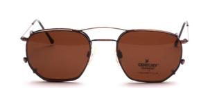Dünne, leichte Edelstahl Brillenfassung inklusive braunem Sonnenclip