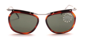 Lightweight aluminum sunglasses with havana brown plastic